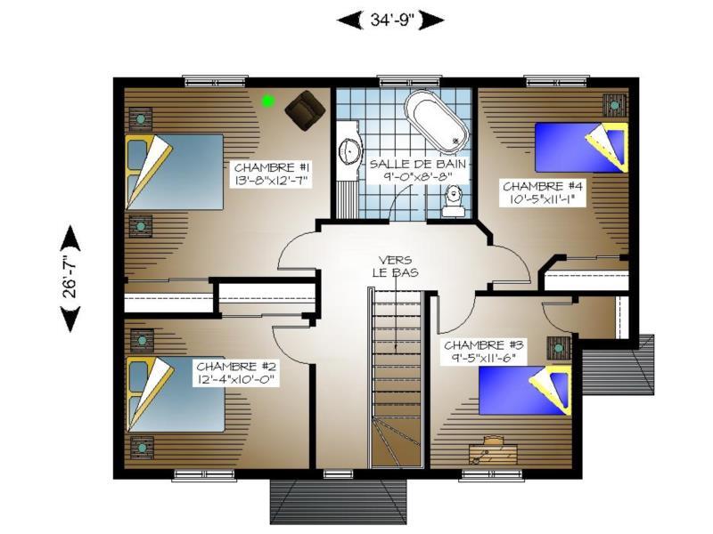 Plan tage 00021 - Plan etage 4 chambres ...