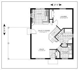 Plan plain pied 00083 for Plan petite maison m